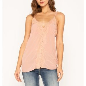 Miss Me pink lace cami top with adjustable straps